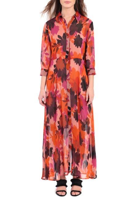 Image of Donna Morgan Printed Button Front Maxi Shirt Dress