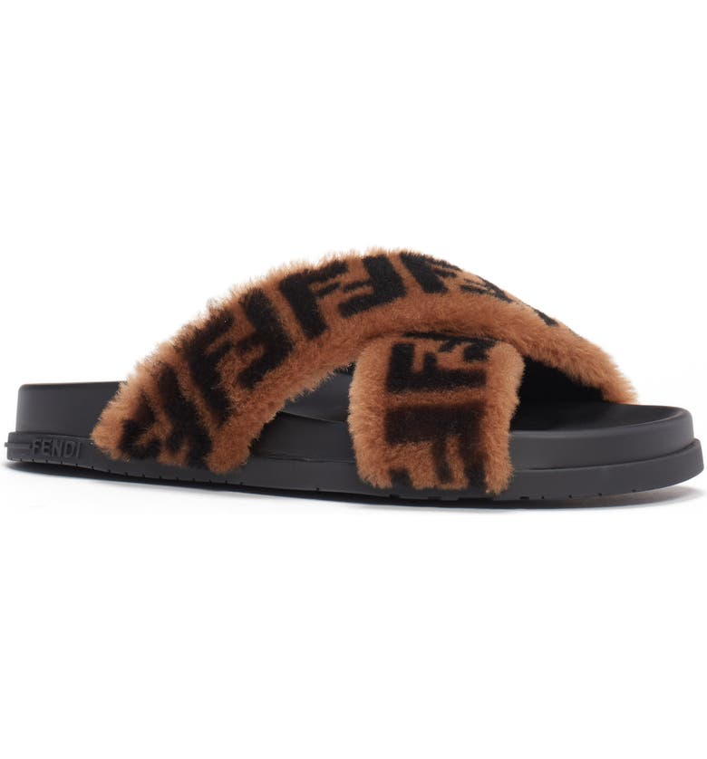 FENDI FF Genuine Shearling Cross Strap Slide Sandal, Main, color, BLACK/ BROWN