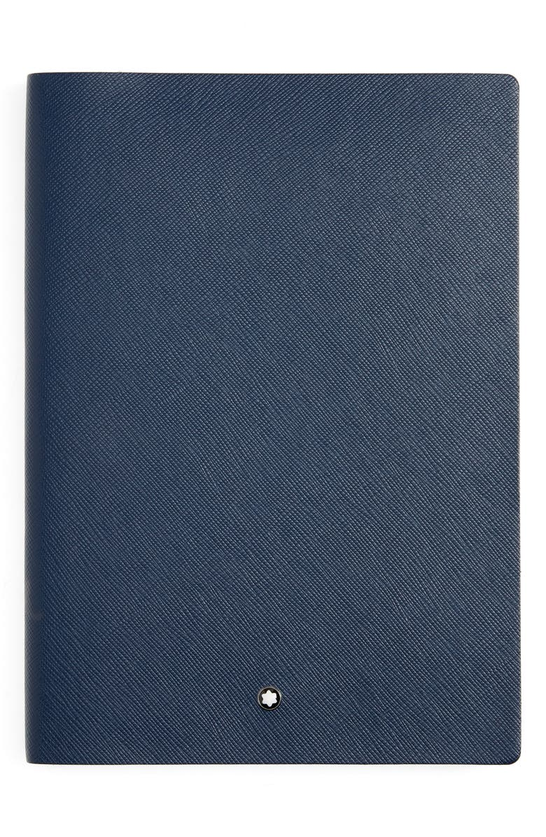 MONTBLANC Leather Lined Notebook, Main, color, BLUE