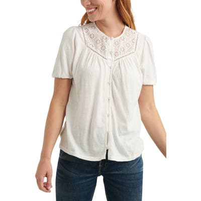 Lucky Brand Button-Up Knit Top, White