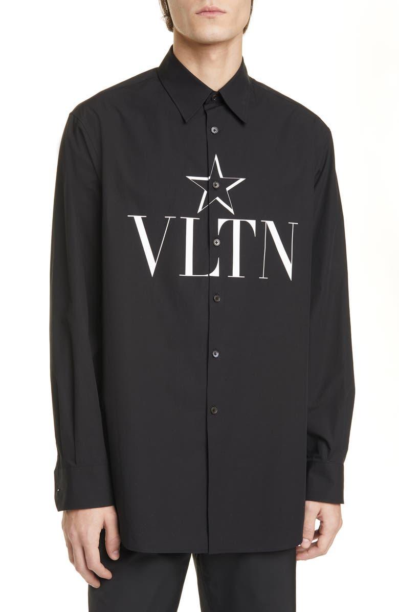 VALENTINO Camicia Manica Lunga VLTN Button-Up Shirt, Main, color, BLACK