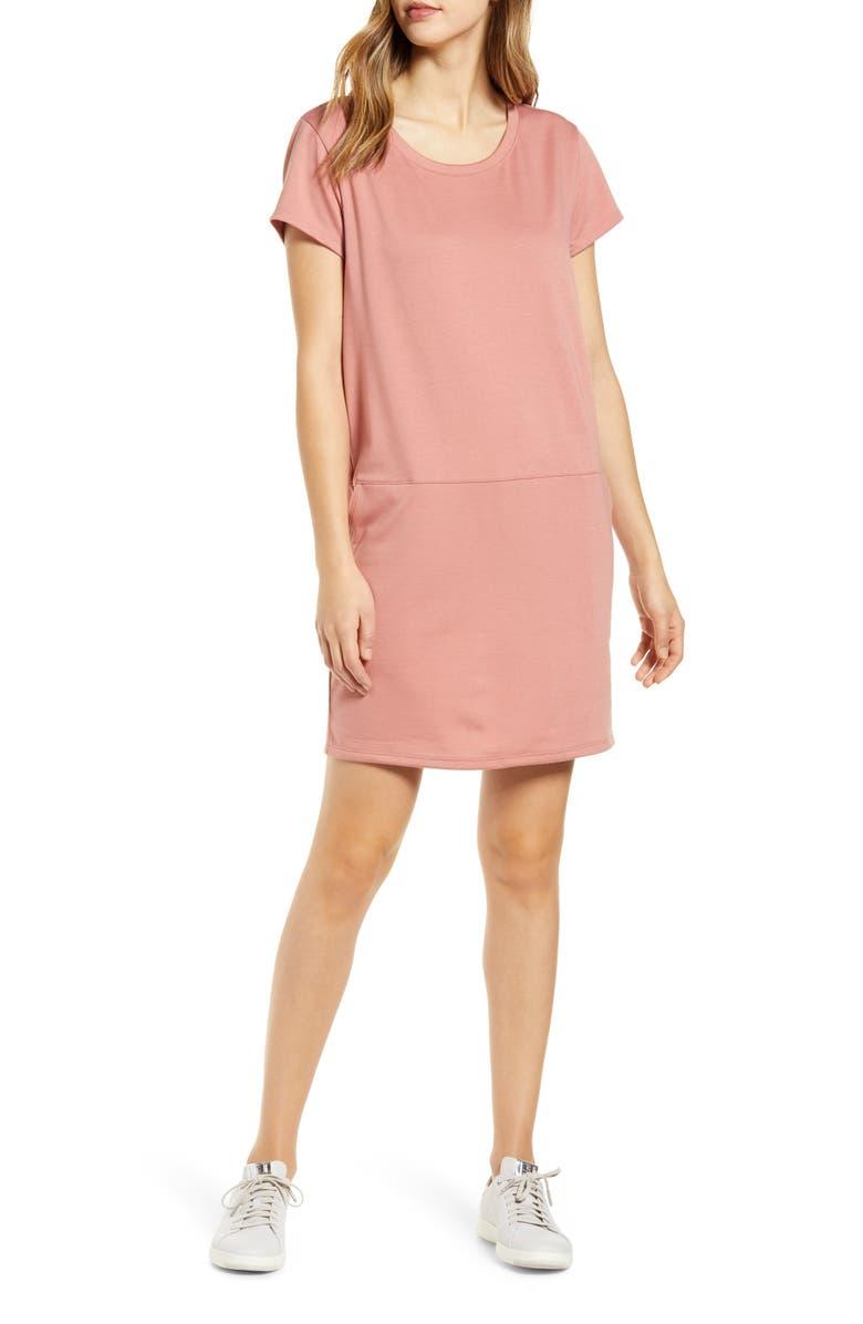 CASLON<SUP>®</SUP> Knit Shift Dress, Main, color, PINK BRICK