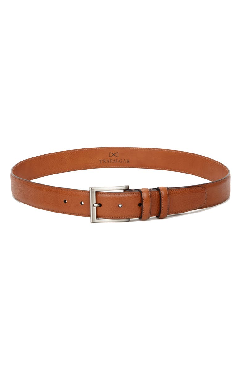 TRAFALGAR Corvino Leather Belt, Main, color, TAN