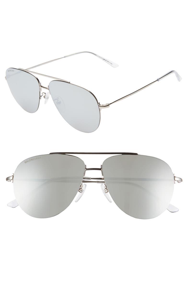 BALENCIAGA 59mm Aviator Sunglasses, Main, color, SHINY SILVER/ SILVER