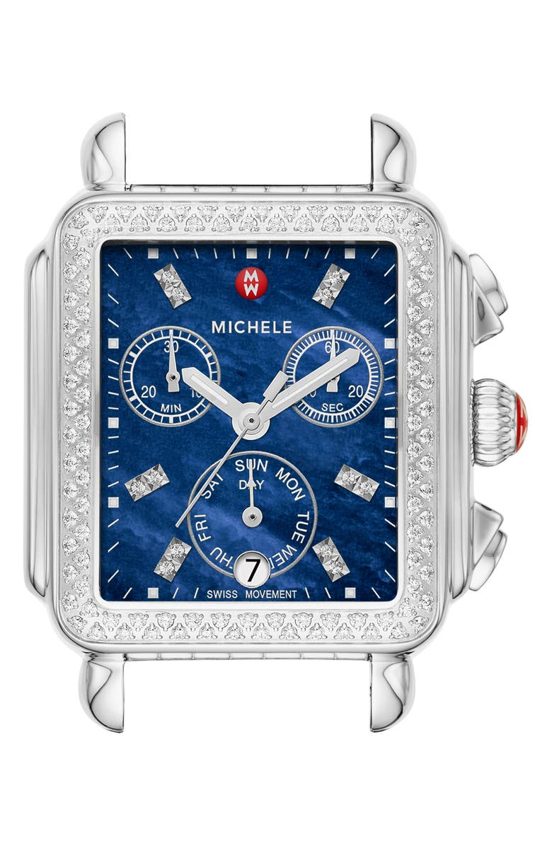 MICHELE Deco Diamond Diamond Dial Watch Head, 33mm x 35mm, Main, color, SILVER/ DEEP BLUE MOP