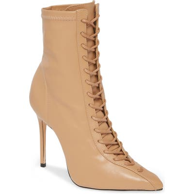 Schutz Tennie Pointed Toe Lace-Up Boot, Beige