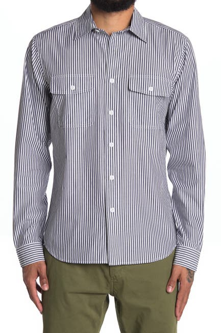 Image of ALEX MILL Field Stripe Print Regular Fit Shirt