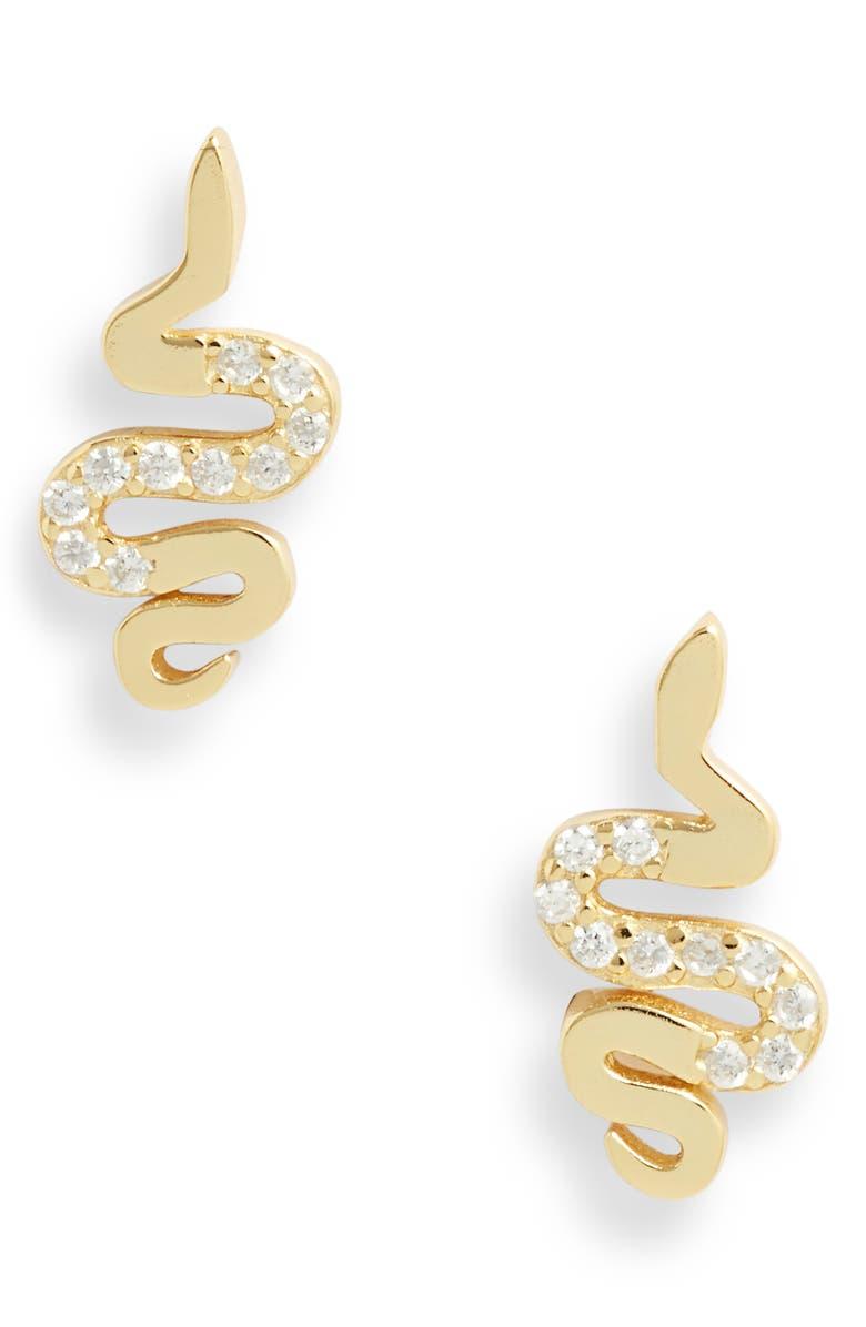 ADINA'S JEWELS Adina's Jewels Pavé Snake Stud Earrings, Main, color, GOLD