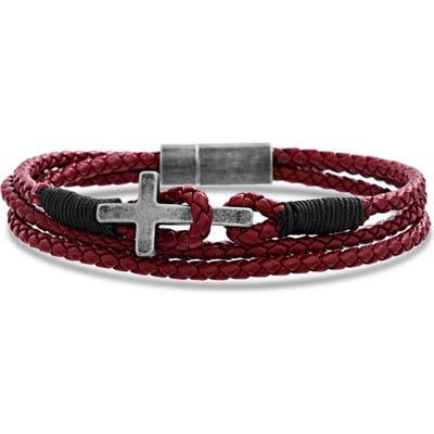 Steve Madden Braided Leather Cross Bracelet