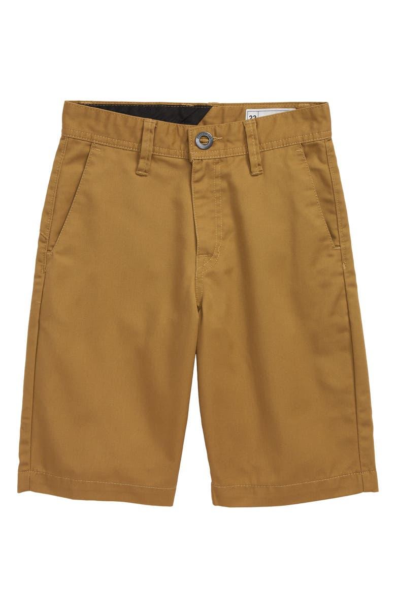 VOLCOM Chino Shorts, Main, color, DARK KHAKI