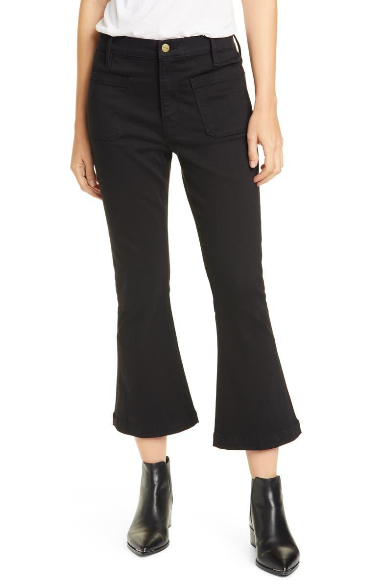 FRAME Le Bardot High Waist Crop Flare Jeans, Main, color, 001