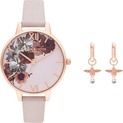 Olivia Burton English Garden Leather Strap Watch Set,