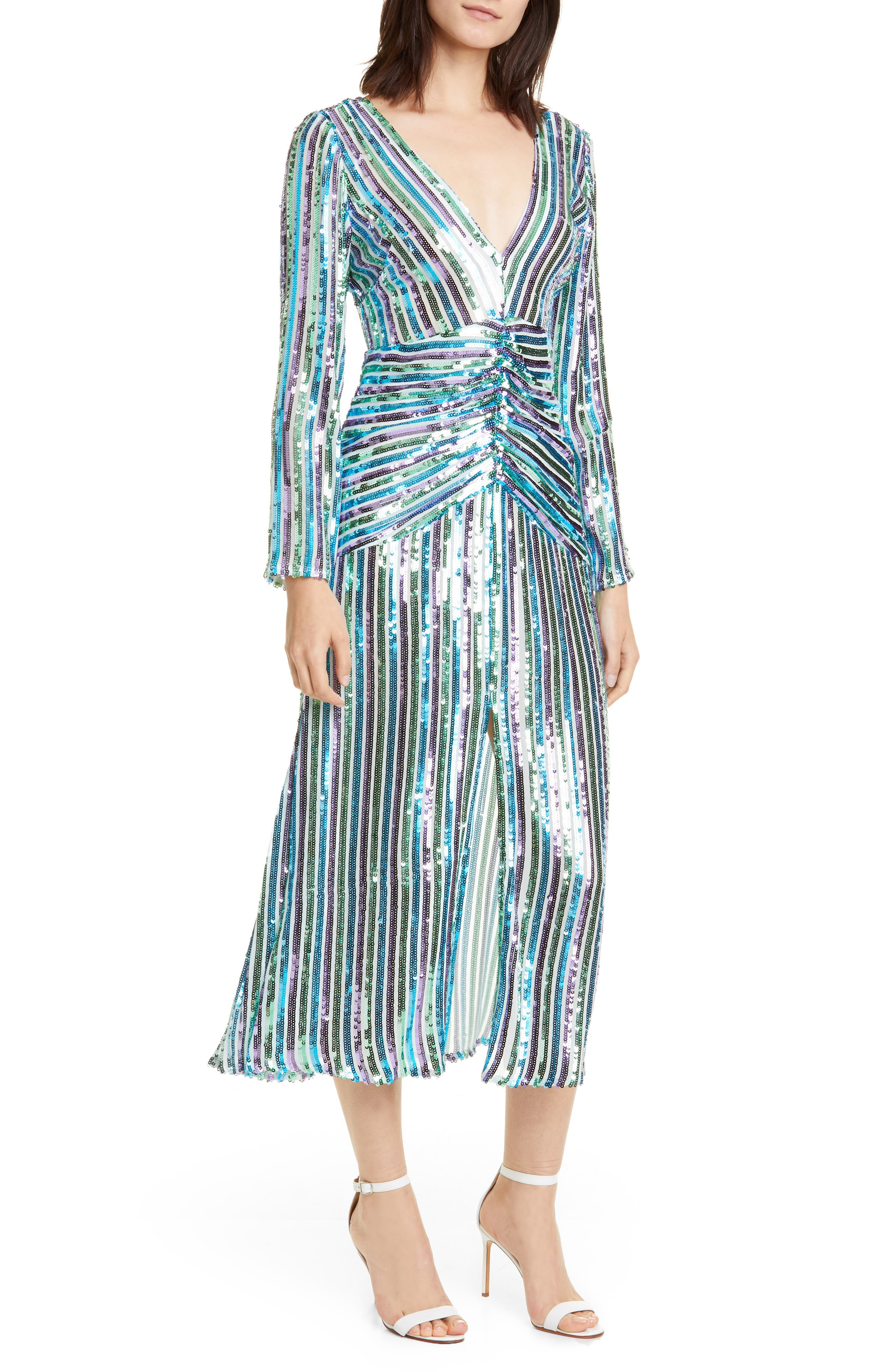 70s Prom, Formal, Evening, Party Dresses Womens Rixo Emmy Sequin Stripe Long Sleeve Maxi Dress $545.00 AT vintagedancer.com