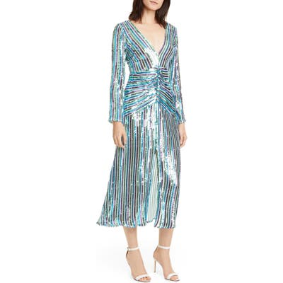 Rixo Emmy Sequin Stripe Long Sleeve Maxi Dress, US / 10 UK - Blue