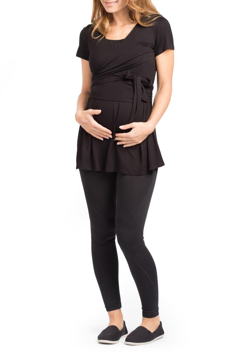 SAVI MOM Pasadena Wrap Maternity Tunic, Main, color, BLACK