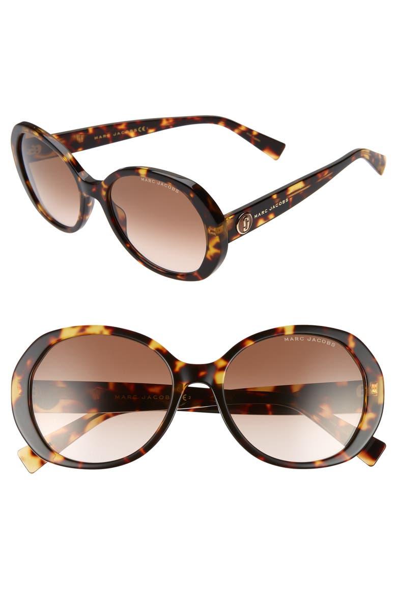 MARC JACOBS 56mm Round Sunglasses, Main, color, BLACK DARK HAVANA