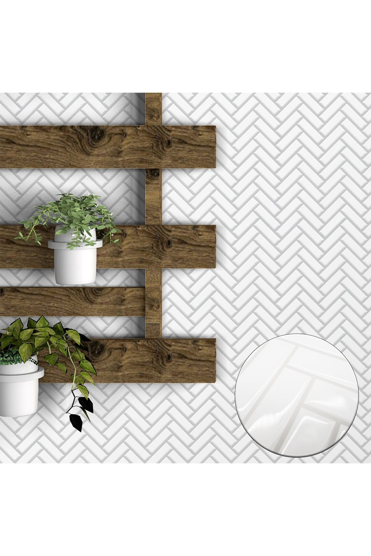 "Image of WalPlus White Herringbone Glossy 3D Sticker Tile - 28cm x 20cm (11"" x 8"") 8-Piece in a pack"