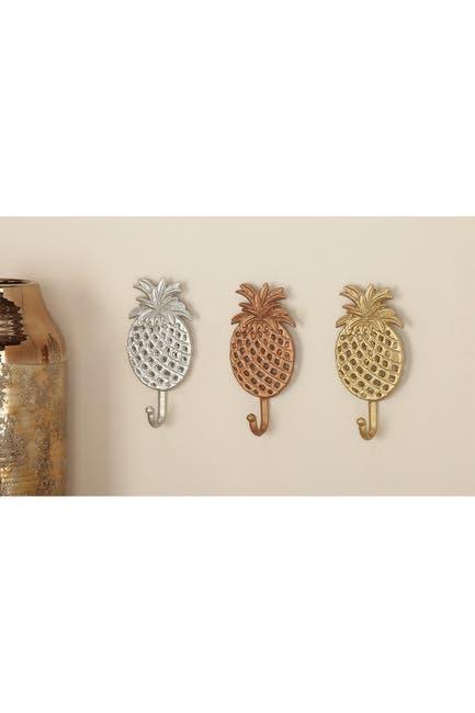 Image of CosmoLiving by Cosmopolitan Metal Pineapple Hooks - Set of 3