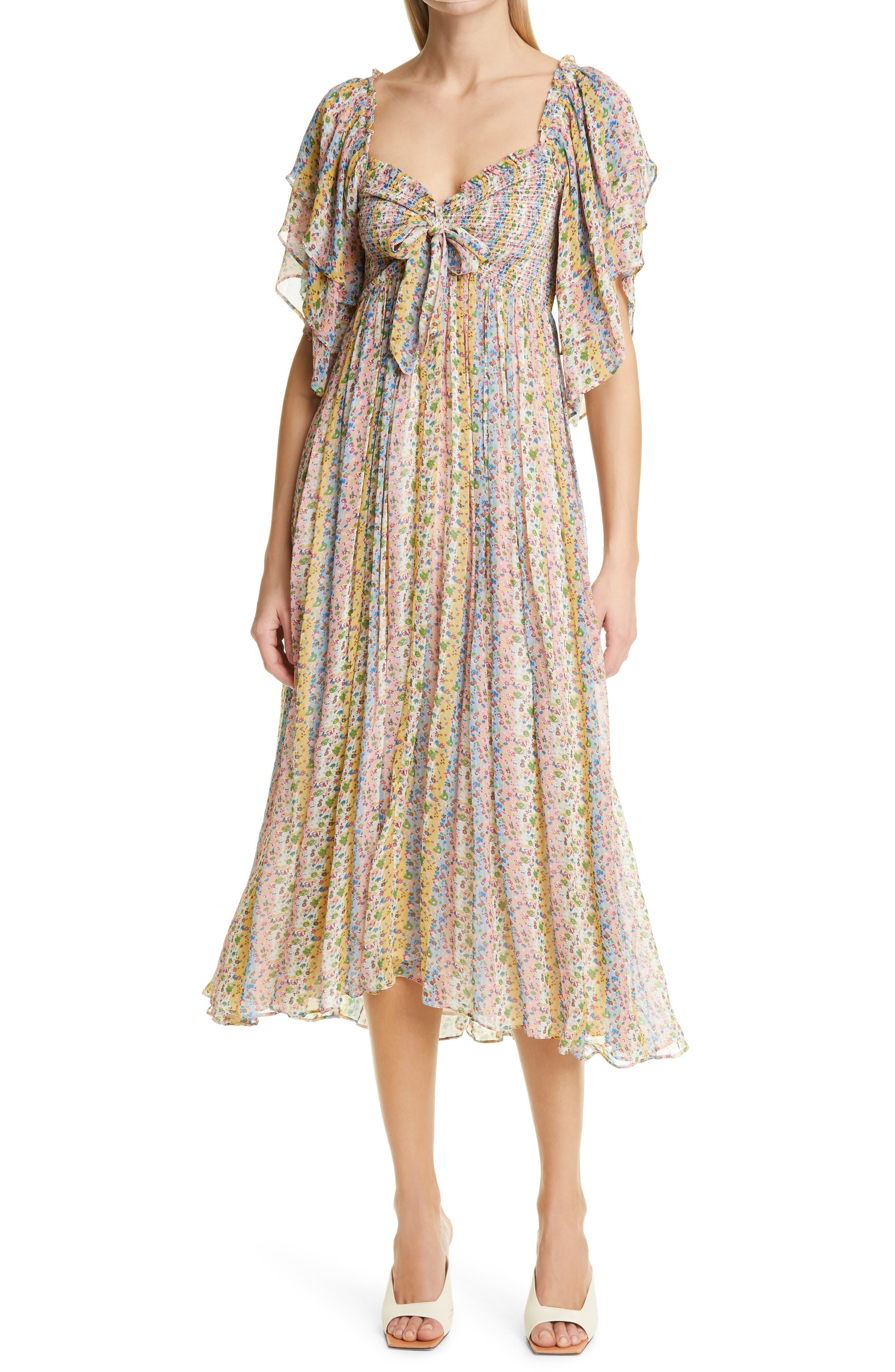 Floral Front Tie Georgette Midi Dress
