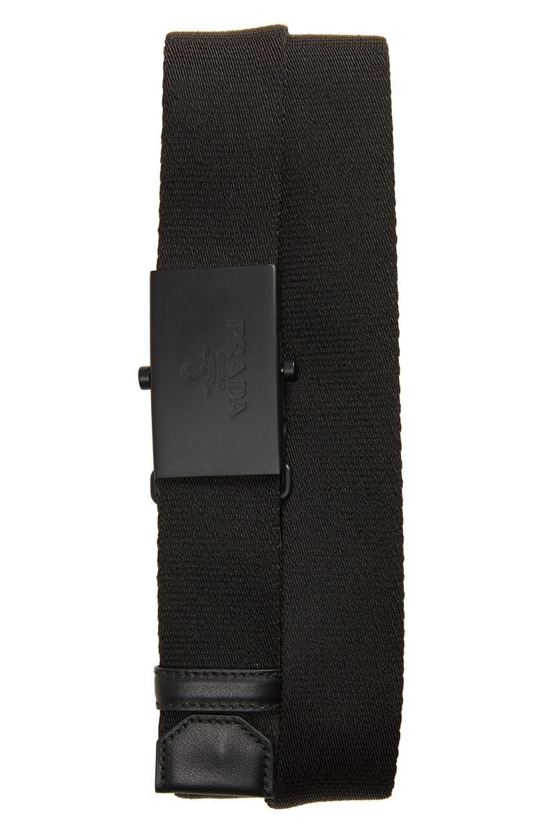 PRADA Nastro Belt, Main, color, NERO