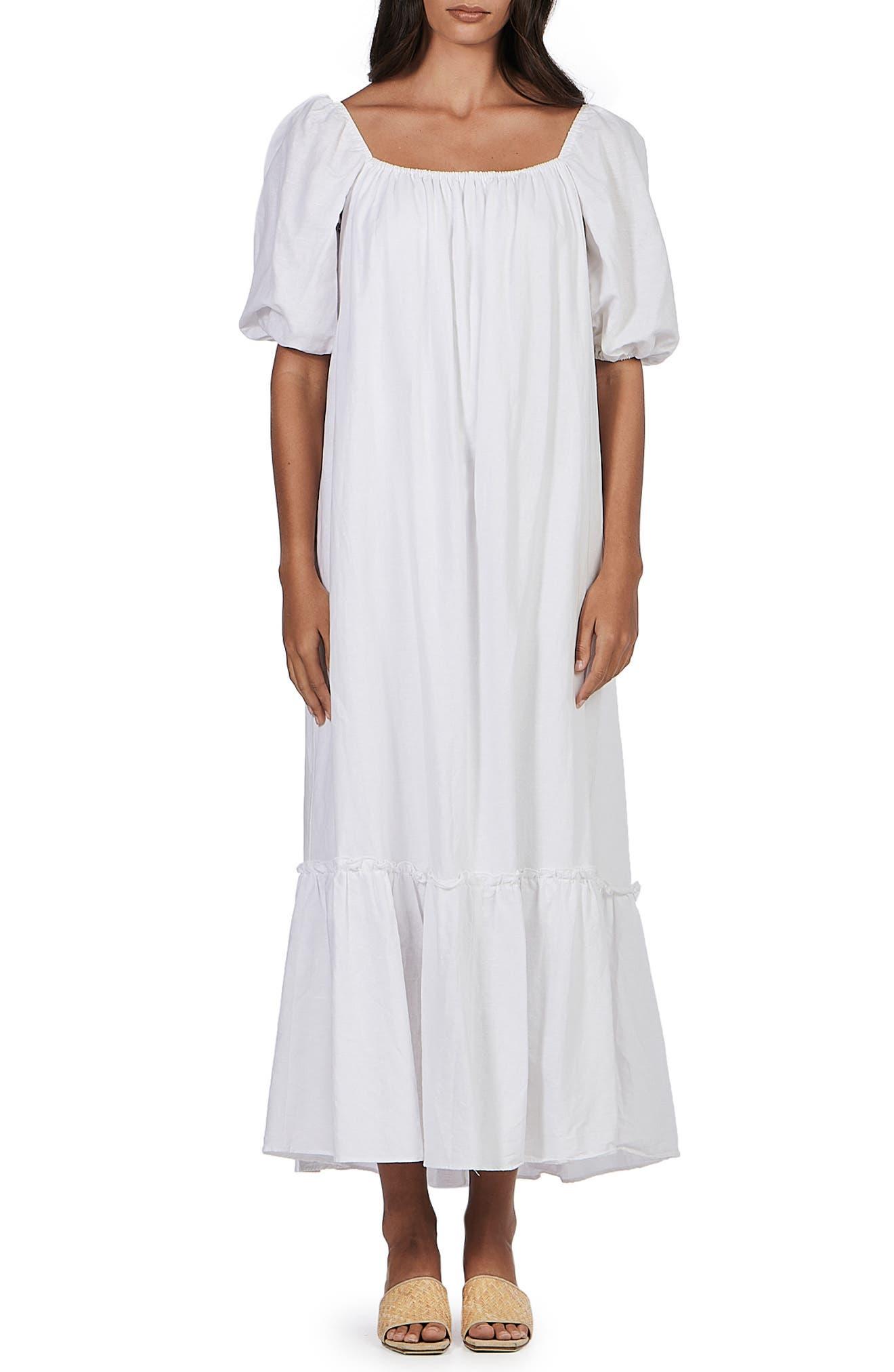 Tilly Tiered Puff Sleeve Linen & Cotton Shift Dress