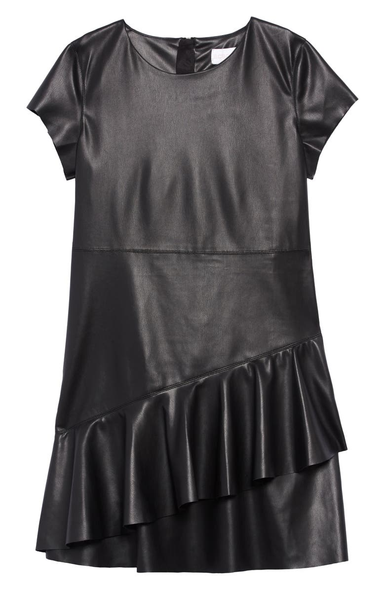 BCBG Faux Leather Ruffle Dress, Main, color, BLACK