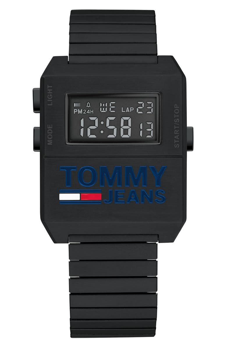TOMMY JEANS Digital Stretch Bracelet Watch, 32.5mm x 42mm, Main, color, 001