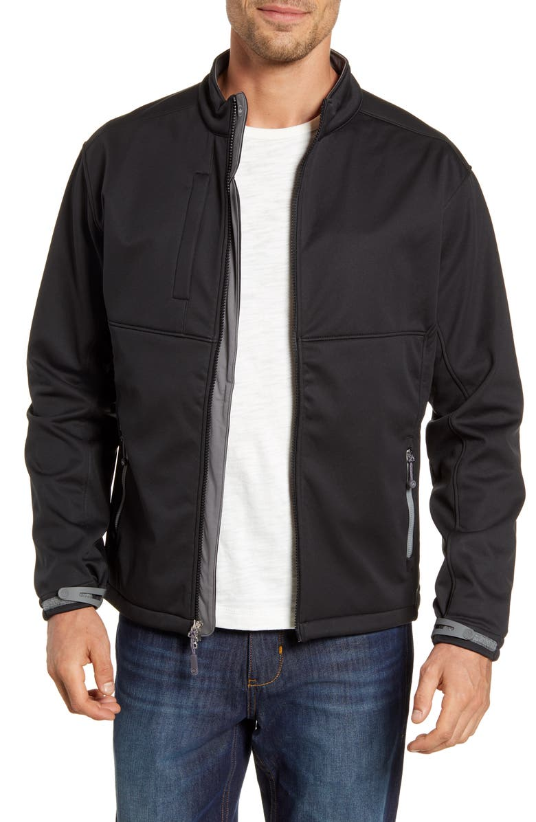 PETER MILLAR Gale Force Stretch Soft Shell Jacket, Main, color, BLACK