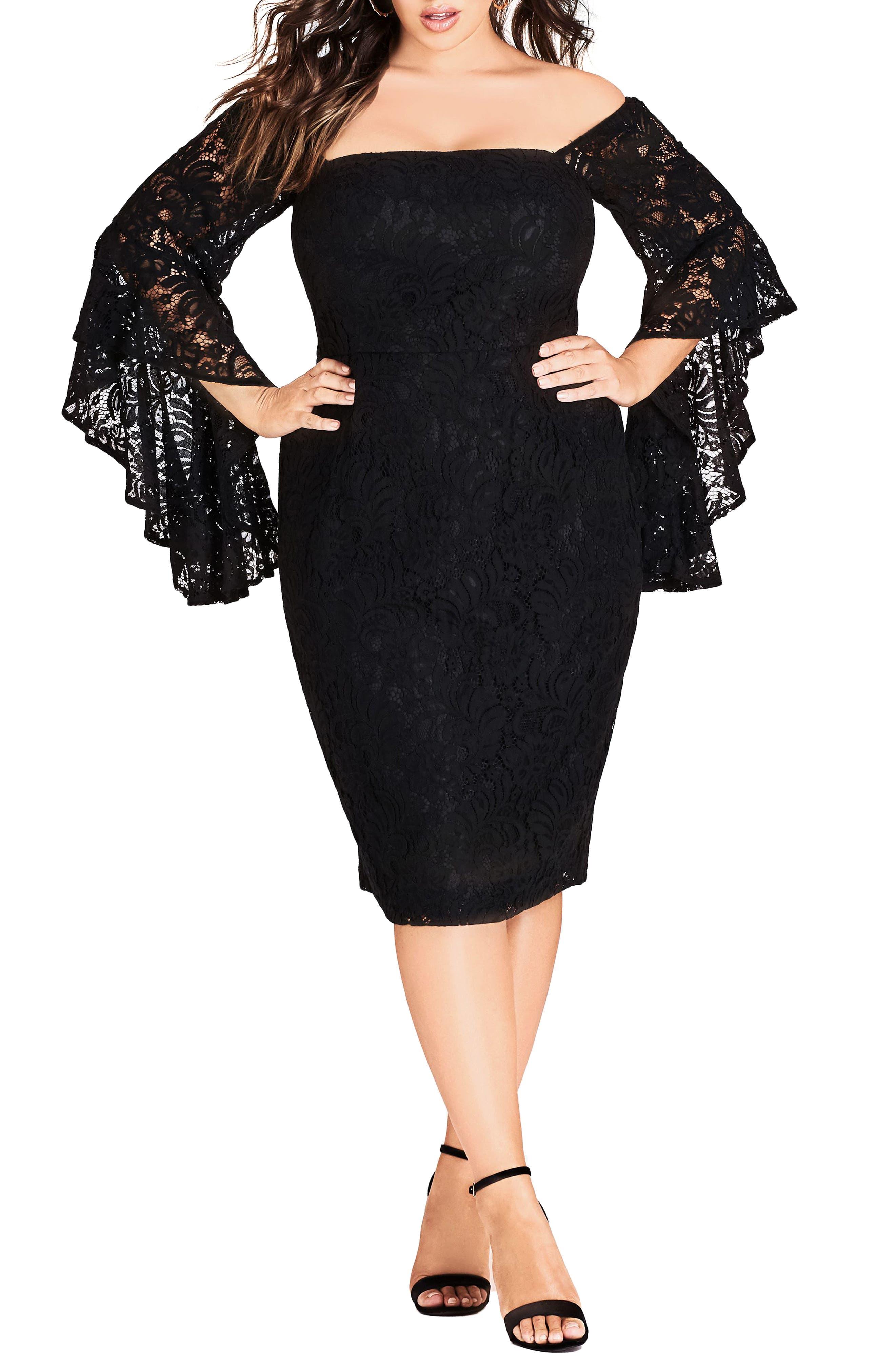 Plus Size City Chic Mystic Lace Dress, Black