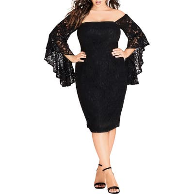Plus Size City Chic Mystic Lace Dress, Black