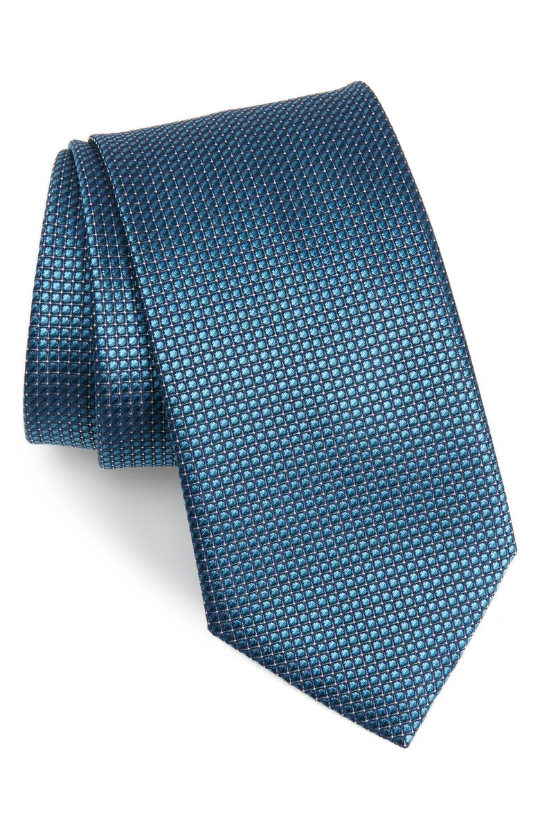 BRIONI Geometric Silk Tie, Main, color, TEAL