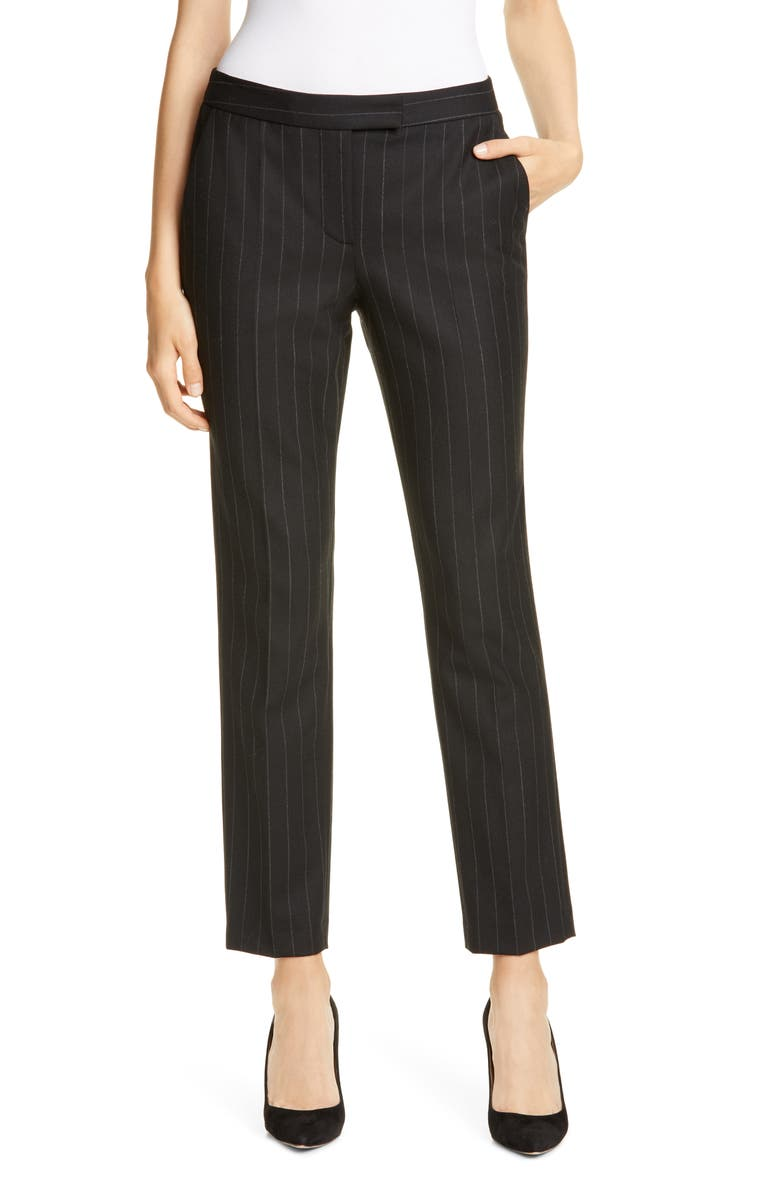 JUDITH & CHARLES Clive Chalk Stripe Trousers, Main, color, BLACK