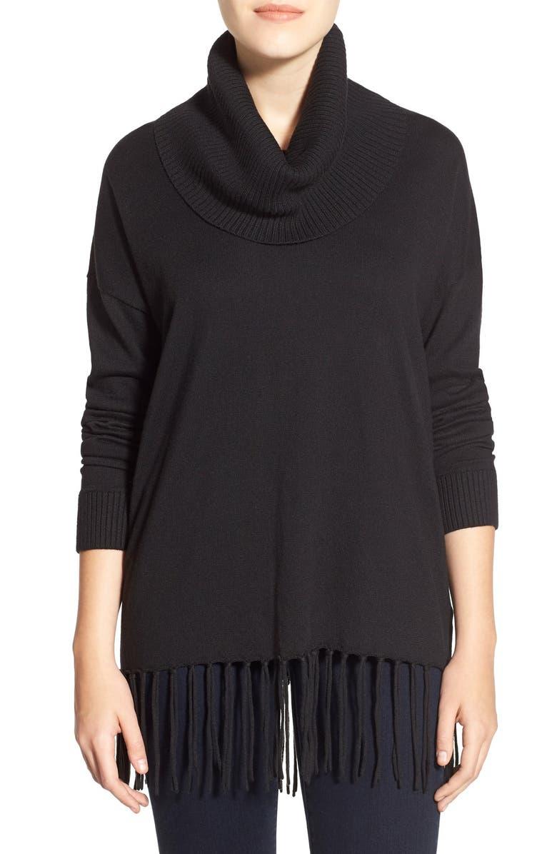 MICHAEL MICHAEL KORS Fringe Hem CowlNeck Sweater, Main, color, 001