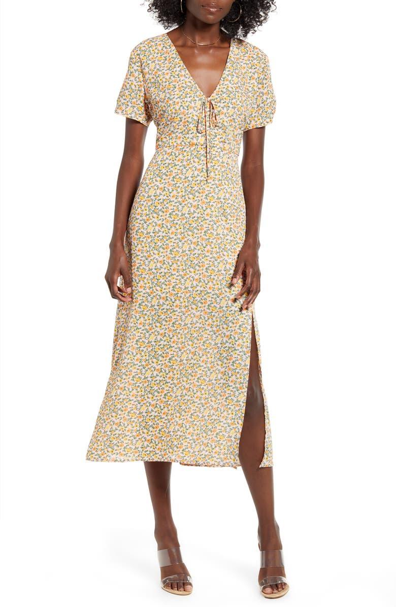 ALL IN FAVOR Flowy Floral Dress, Main, color, PINK FLORAL