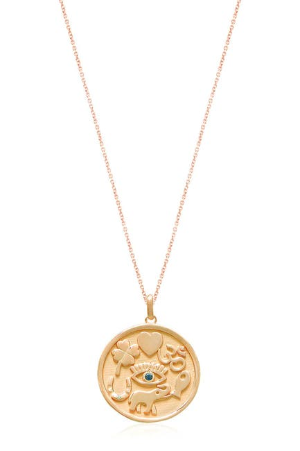 Image of Gabi Rielle 14K Gold Vermeil CZ Accented Lucky Charm Medallion Necklace