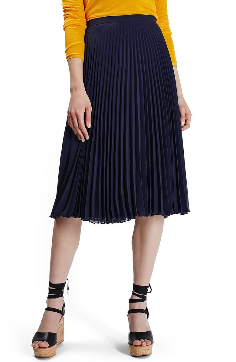 TOPSHOP Chiffon Pleated Midi Skirt, Main, color, 410