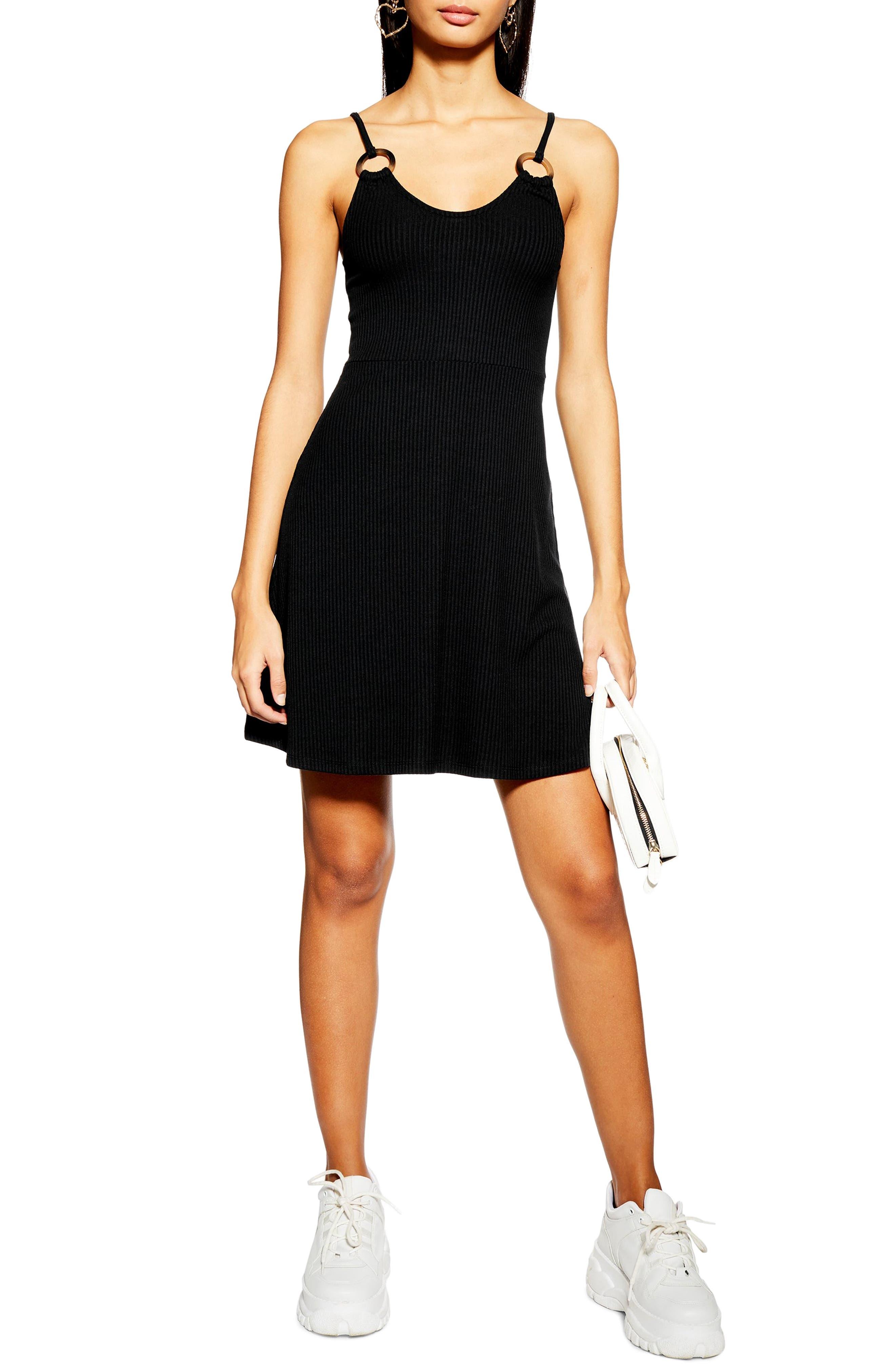 Topshop Rib Knit Dress, US (fits like 0-2) - Black
