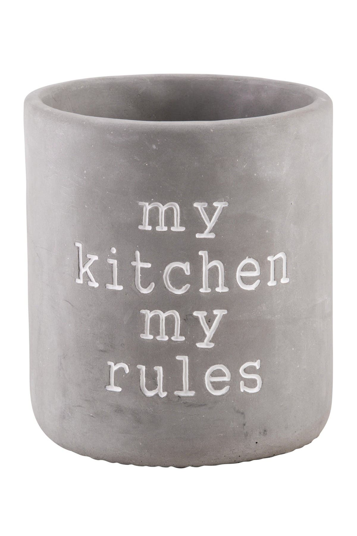 "Image of Home Essentials and Beyond ""My Kitchen, My Rules"" Round Utensil Crock"