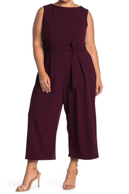 Image of London Times Sleeveless Scuba Crepe Jumpsuit