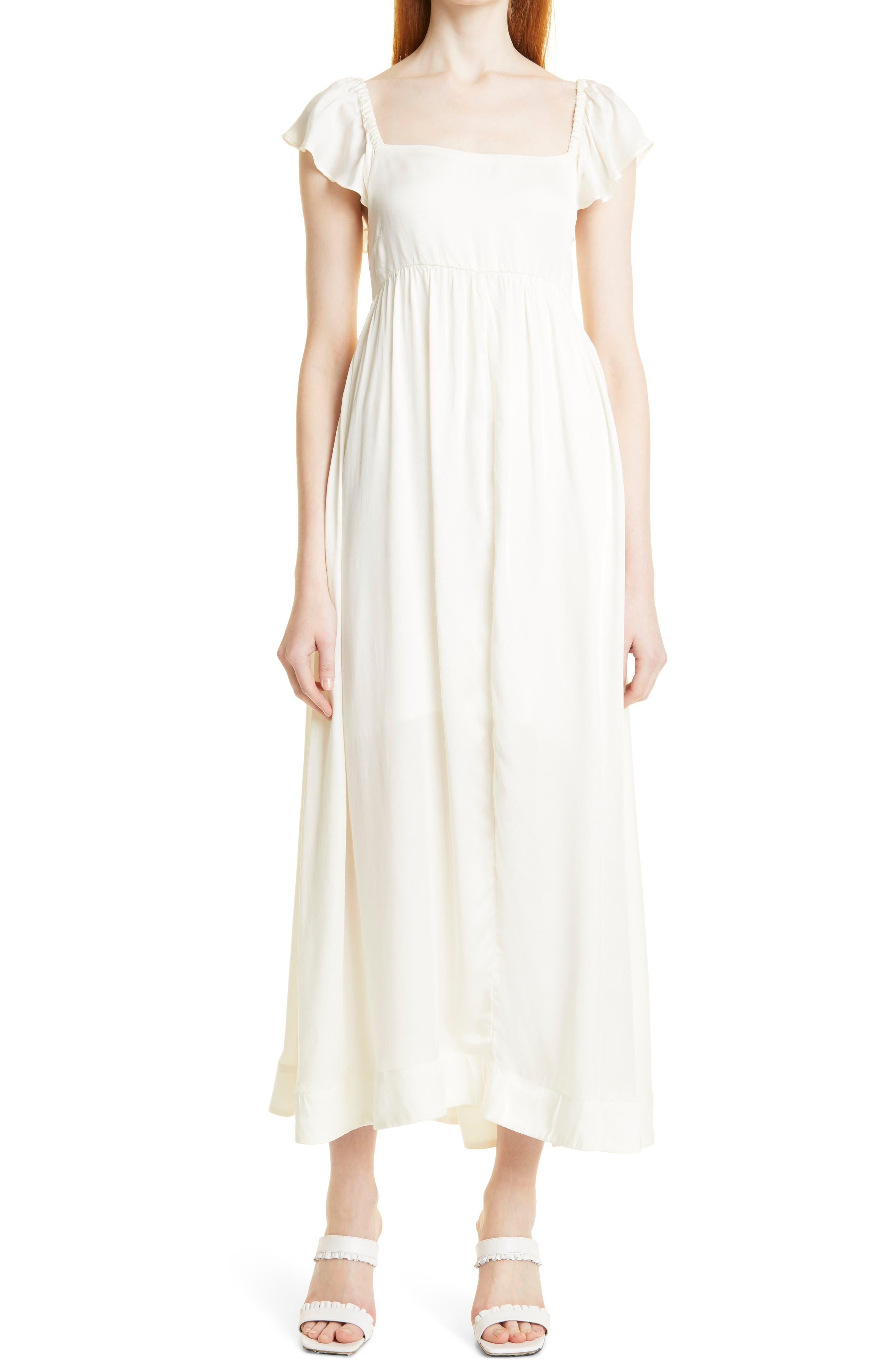 Square Neck Flounce Sleeve Midi Dress