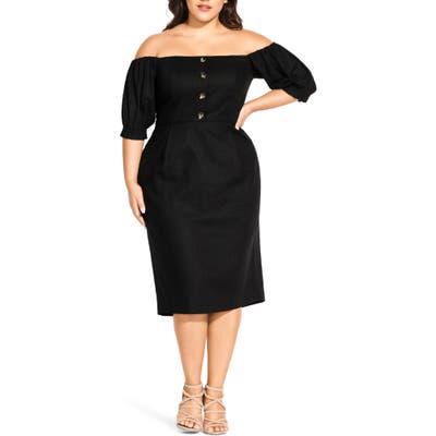 Plus Size City Chic Bubble Sleeve Off The Shoulder Dress, Black