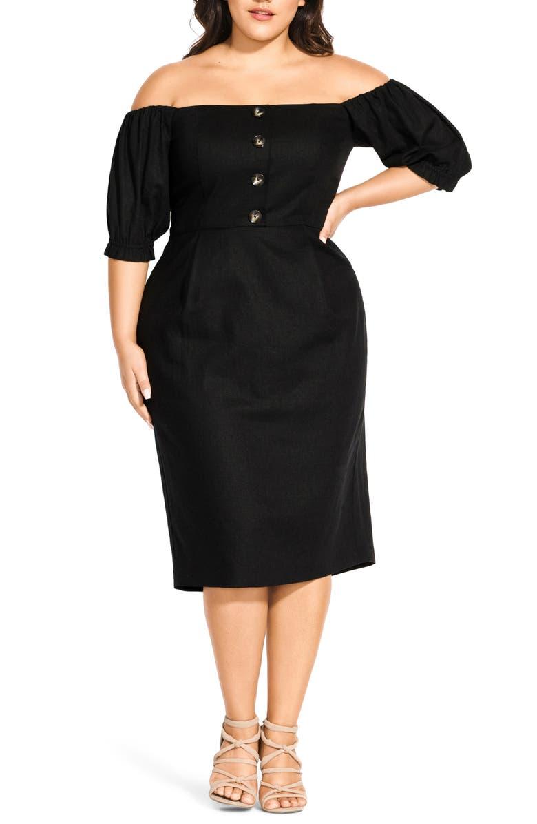 City Chic Bubble Sleeve Off the Shoulder Dress (Plus Size ...