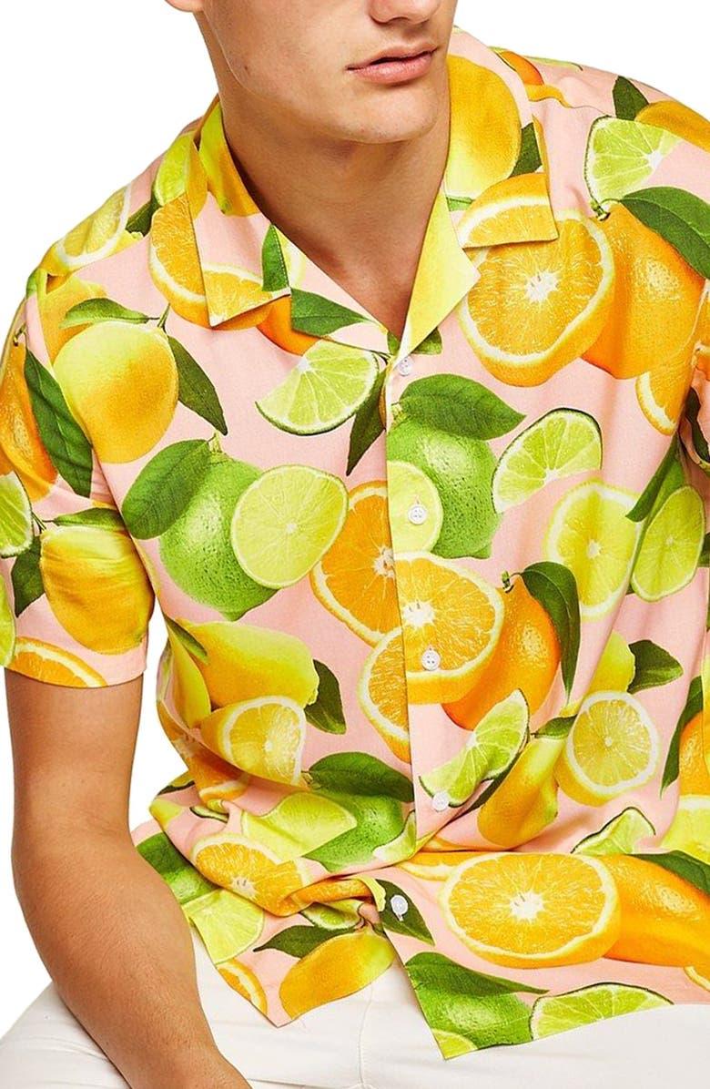 TOPMAN Lemon Print Camp Shirt, Main, color, 650