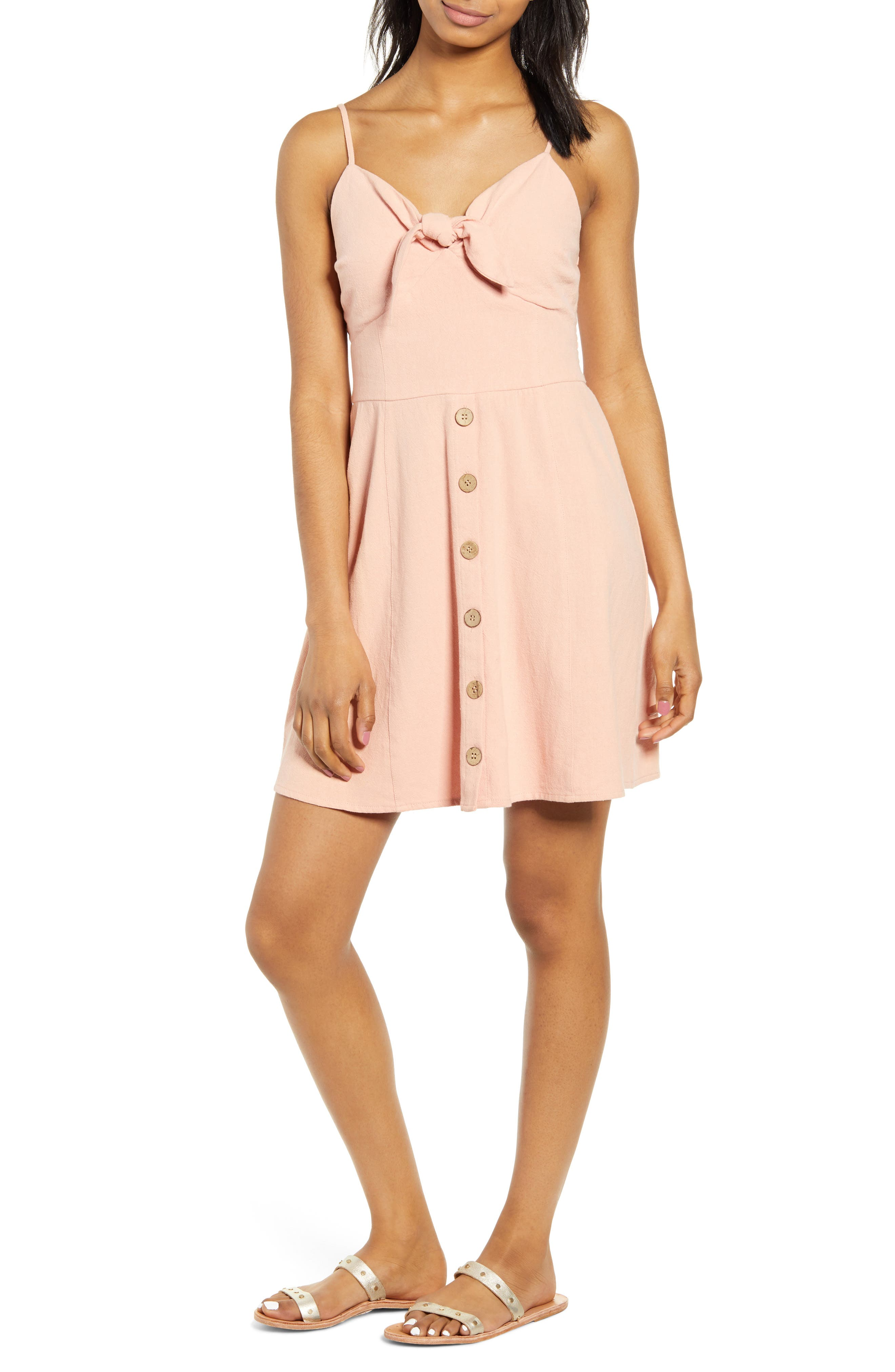 Band Of Gypsies Giselle Tie Front Minidress, Coral