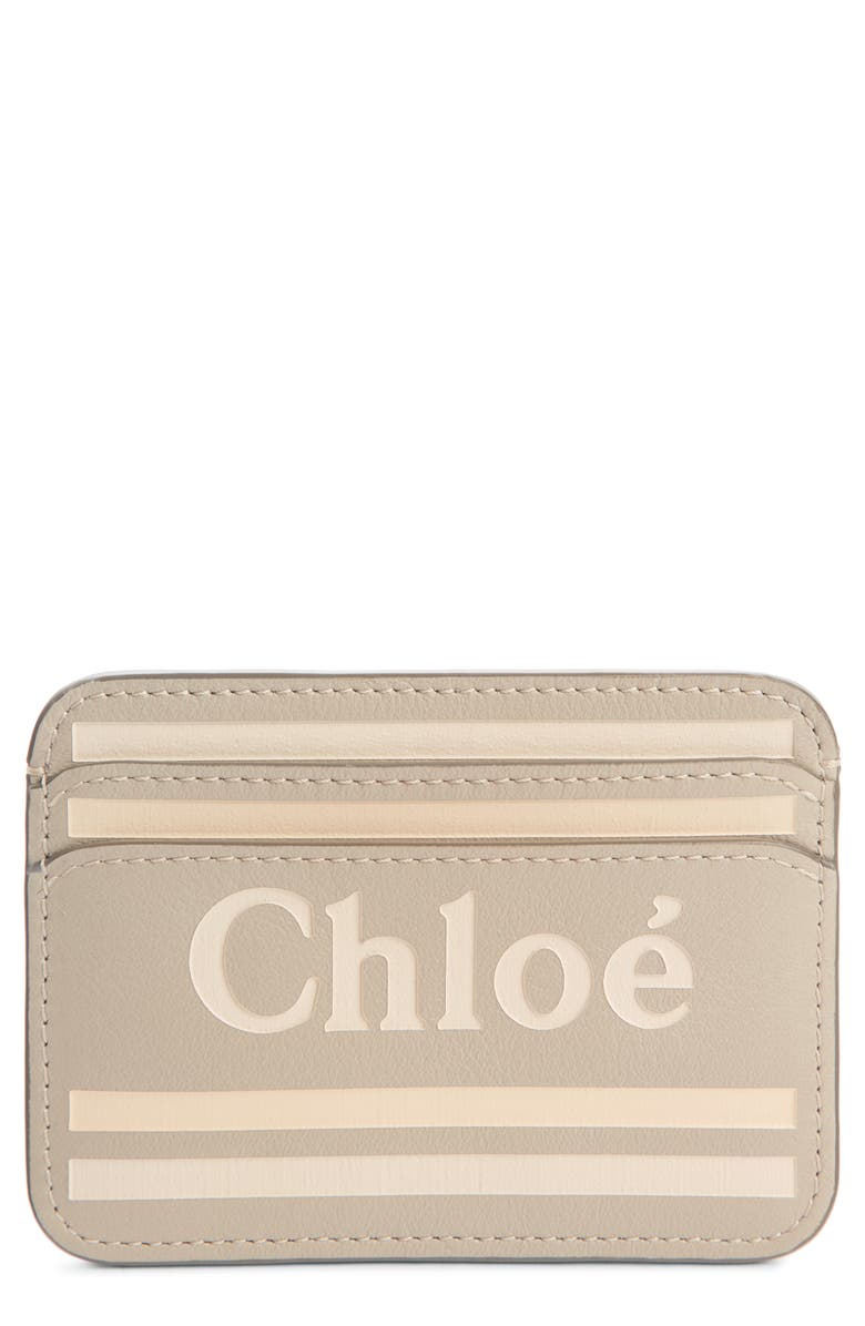 CHLOÉ Vick Logo Leather Card Holder, Main, color, PASTEL GREY