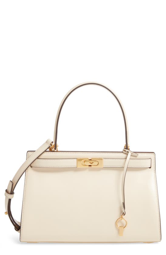 Tory Burch Small Lee Radziwill Leather Bag In New Cream