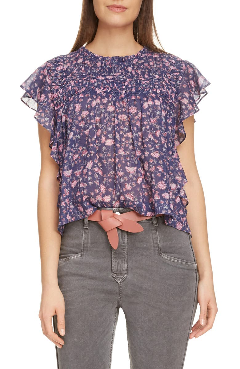 ISABEL MARANT ÉTOILE Layona Ruffle Sleeve Top, Main, color, MIDNIGHT