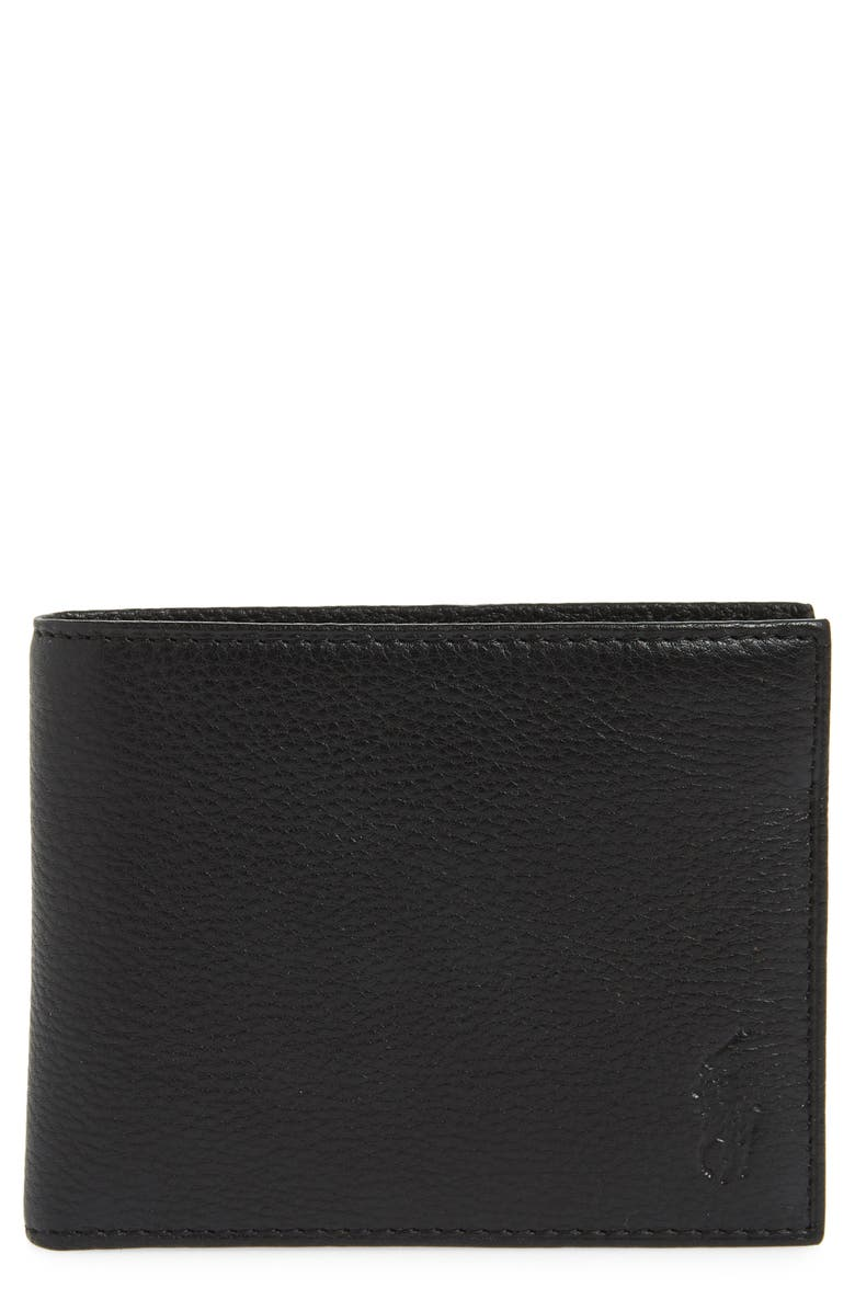 POLO RALPH LAUREN Leather Passcase Wallet, Main, color, BLACK