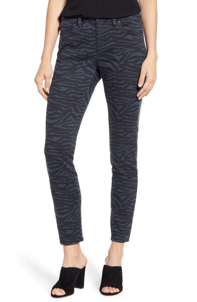 VINCE CAMUTO Zebra Print Skinny Jeans, Main, color, 006