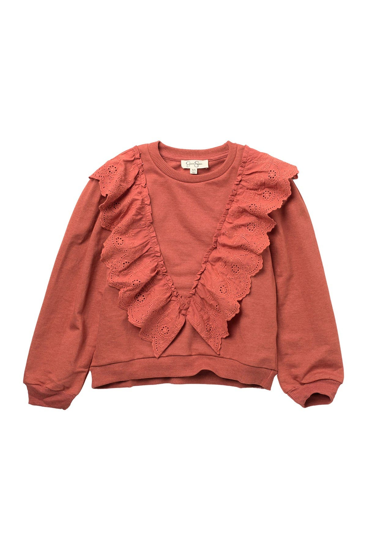 Image of Jessica Simpson French Terry Scalloped ruffle Pullover Sweater